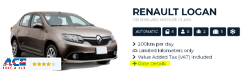 Ace Rent a Car Rate Details