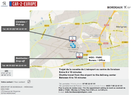 Map to Car Leasing Pick-Up Location at Bordeaux Airport