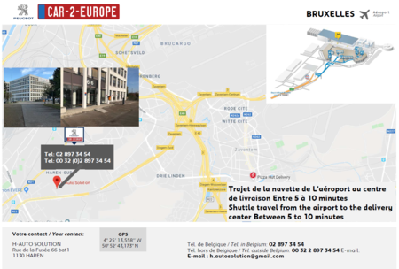 Map to Pick-up your Car Lease at the Brussels Airport