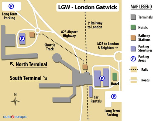 Car Rental Gatwick Airport Save On London Rental Cars Now - London map gatwick