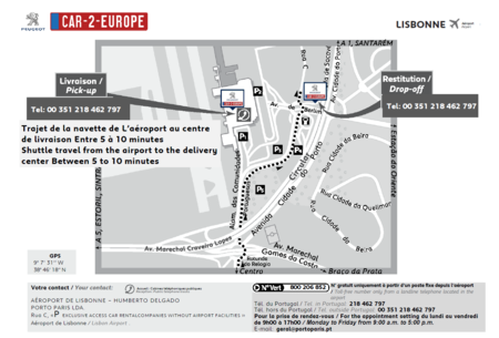 Car Leasing Map for Lisbon Airport
