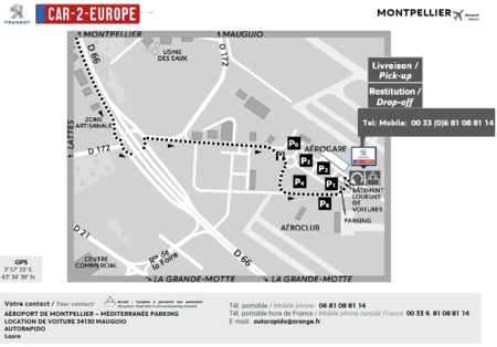 Car Leasing Map - Montpellier Airport