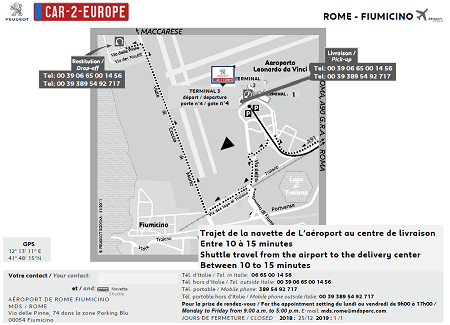 Rome Fiumicino Airport Map for Leasing a Car