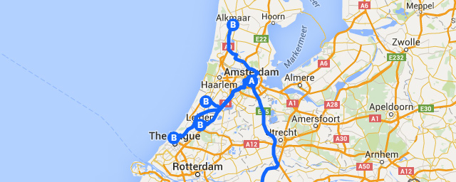Best Day Trips from Amsterdam Map