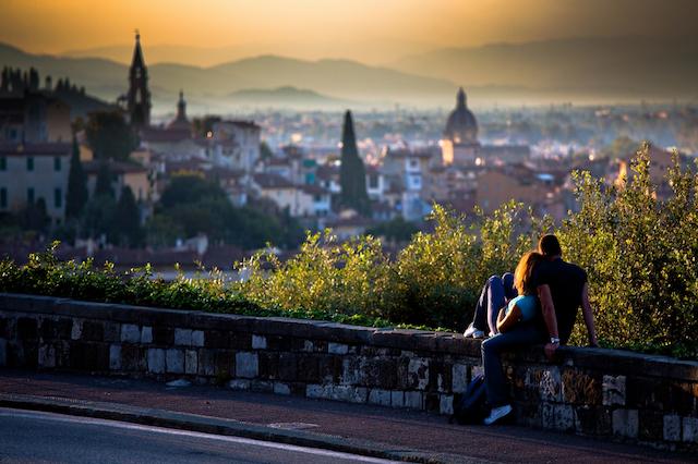A romantic scene in Italy