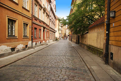 Narrow European Street to Drive a Midsize Rental Car