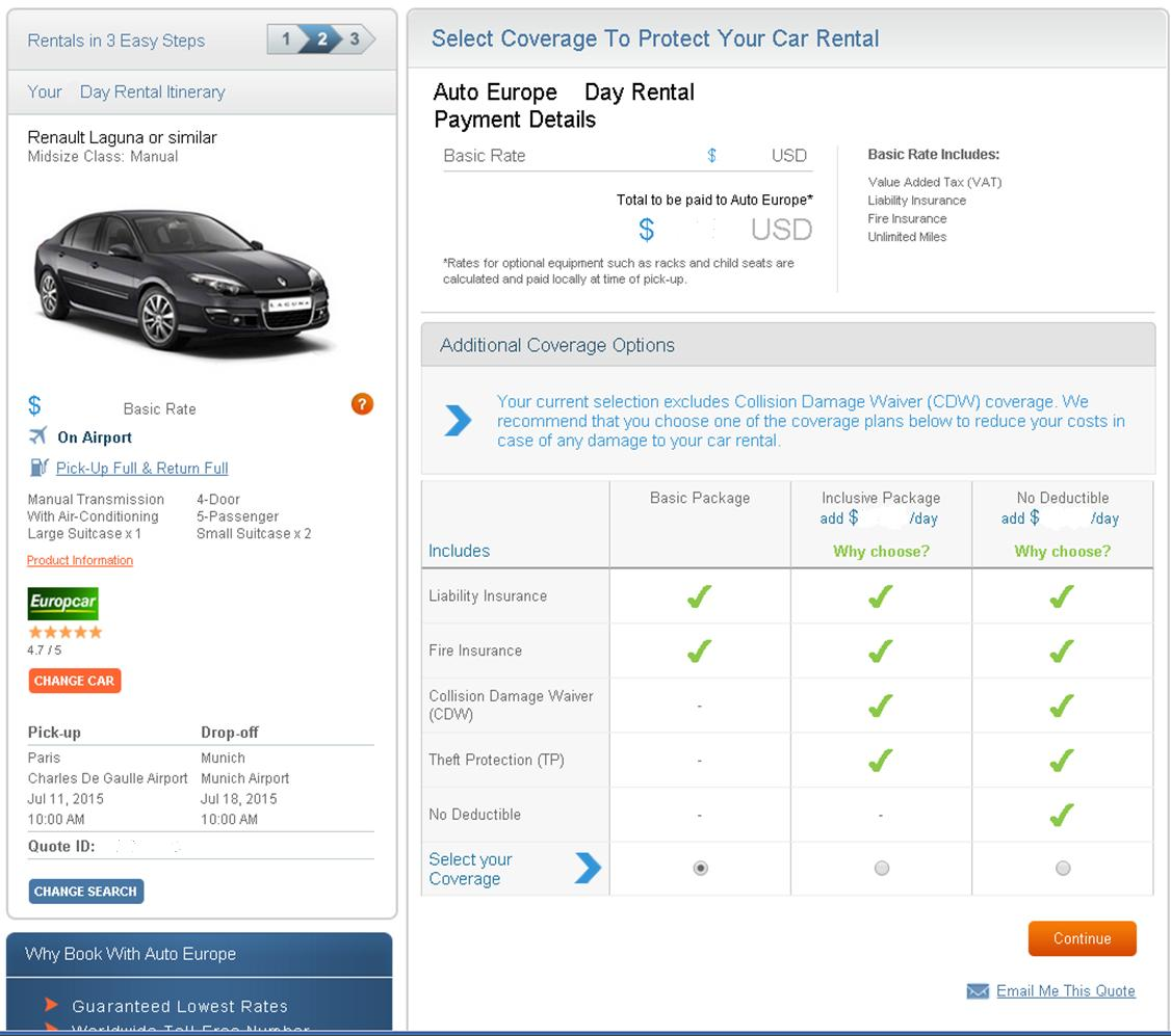 One way car rental insurance upgrades screen