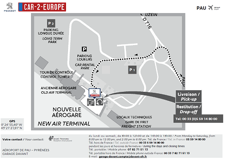 Map to find the Car Leasing Location at Pau Airport