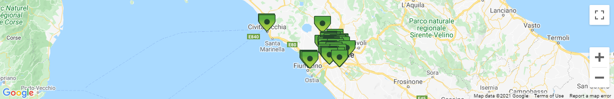 Map of Rome Car Rental Pick-up Depots