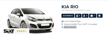 Sixt Rate Details - Booking Engine Example