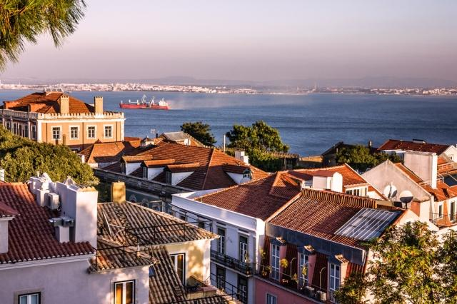 View of the River Tagus from a scenic vista in Lisbon, Portugal.