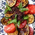 Roasted Eggplants, Roma Tomatoes, Basil, and Kalamata Olives