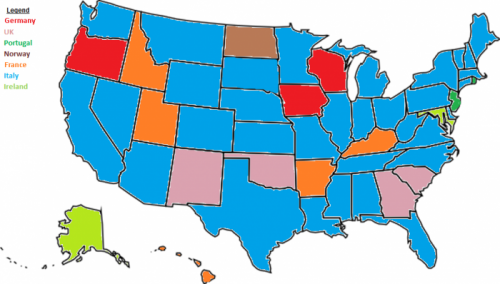 Most Popular Pickup Country by U.S. State